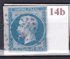 France Timbre De 1860 Napoléon III YT 14B Oblitéré - 1853-1860 Napoleon III