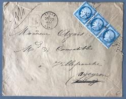 France N°60C Bande De 3 (trois) Sur Enveloppe Recommandée De Tulle (GC4042) 22.5.1875 - (B2020) - 1849-1876: Période Classique