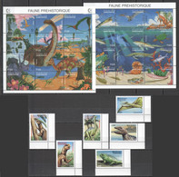 H162 GABONAISE GABON FAUNA PREHISTORIC LIFE ANIMALS DINOSAURS 1SET+2SH MNH - Preistorici