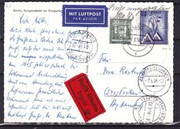 Berlin - Carte Postale Exprès De 1958 - Oblit Berli Charlotten Burg - Exp Vers Trittau - Cachet Hamburg Flughafen - Covers & Documents