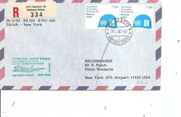 Nations-Unies -Genève ( Lettre Recommandée De 1985 De Genève Vers Les USA à Voir) - Covers & Documents