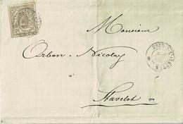 Lettre De Esch-sur-Alzette à Stavelot (Belgique),1874, 20c Brun Gris, 19, Par Lux, Arlon, Sceau Des Ht-fourn. - 1859-1880 Coat Of Arms