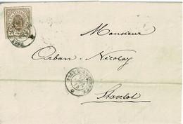 Lettre De Esch-sur-Alzette à Stavelot (Belgique),1874, 20c Brun Gris, 19, Par Lux, Namur, Sceau Des Ht-fourn. - 1859-1880 Coat Of Arms