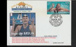 Australia Cover 2000 Sydney Olympic Games - Franked W/Olympic Local Post - Gold Medal Winner Inge De Bruijn - Summer 2000: Sydney