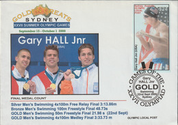 Australia Cover 2000 Sydney Olympic Games - Franked W/Olympic Local Post - Gold Medal Winner Gary Hall Jnr (USA) - Summer 2000: Sydney
