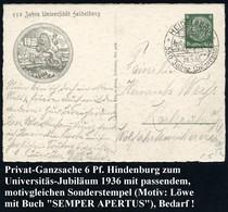 HEIDELBERG/ 550 Jahre Universität 1936 (28.6.) SSt (Löwe Mit Buch Vor Schloß) Auf Motivgl. PP 6 Pf. Hindenbg.: 550 Jahre - Other