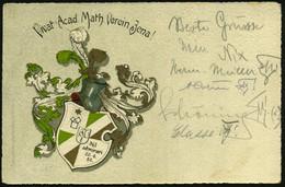 JENA /  RUDELSBURG 1911 (1.7.) Color-Litho-Ak.: Vivat Acad. Math. Verein Jena! (Wappen) 1K-Gitter: RUDELSBURG/*** = Haus - Other
