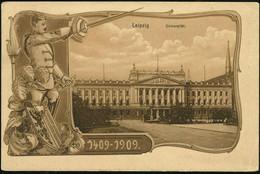 LEIPZIG/ UNIVERSITÄTS-JUBILÄUM/ FESTKOMMERS 1909 (30.7.) SSt (rechts Minim.nicht Voll) Klar Auf Monochromer Jubil.-Sonde - Other