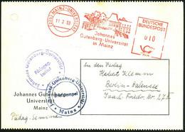 (22b) MAINZ-UNIVERSITÄT/ Johannes/ Gutenberg-Universität.. 1953 (11.2.) Seltener AFS = Hauspostamt Universität! (Gebäude - Other