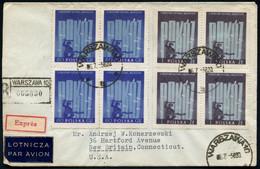 """POLEN 1956 (18.5.) """"5. Internat. Treffen Der Jugend & Studenten"""", Warschau, 4er-Block-Paar-Satz , 1K + Schw. R-Stempel:  - Other"""