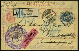 SCHWEIZ 1907 (3.12.) 10 C. Ausl.-P Ziffer-Oval, Karmin (2x Kaum Sichtbare Kerbe) + Zusatzfrankatur 25 C. Helvetia (Mi.81 - Other