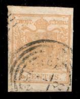 ANTICHI STATI  - LOMBARDO VENETO - 1850 - 5 Cent (1e - Ocra Arancio) Usato A Monselice - Cert AG (900) - Unclassified