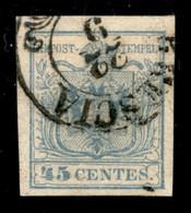 ANTICHI STATI  - LOMBARDO VENETO - 1855 - 45 Cent (12d - Oltremare Grigio Chiaro) Usato A Brescia - Cert. AG (2.500) - Unclassified