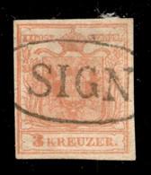 ANTICHI STATI  - LOMBARDO VENETO - TERRITORI ITALIANI D'AUSTRIA - Sign (P.ti 13) - 3 Kreuzer (3) Usato - Cert. AG - Unclassified