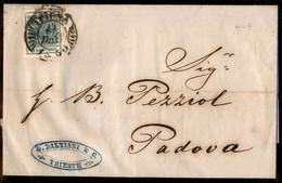 ANTICHI STATI  - LOMBARDO VENETO - TERRITORI ITALIANI D'AUSTRIA - 9 Kreuzer (5) Su Lettera Da Trieste E Padova Del 14.12 - Unclassified