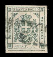 ANTICHI STATI  - MODENA - 1859 - 5 Cent (12) Usato - Angolo Di Foglio Con Grandi Margini - Annullamento Leggermente Impr - Unclassified