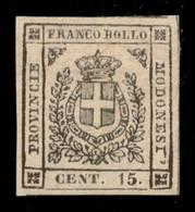 ANTICHI STATI  - MODENA - 1859 - 15 Cent (13 - Bruno) - Ottimi Margini - Gomma Originale - Lieve Sfaldatura In Alto A Si - Unclassified