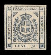 ANTICHI STATI  - MODENA - 1859 - 20 Cent (15) - Ottimi Margini - Gomma Originale - Molto Bello - Cert. Sorani (5.000) - Unclassified