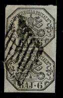 ANTICHI STATI  - STATO PONTIFICIO - 1852 - 6 Bai (7) - Coppia Verticale Usata (325) - Unclassified
