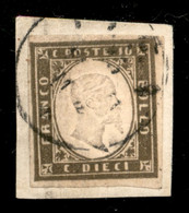 ANTICHI STATI  - SARDEGNA - 1861 - 10 Cent Oliva Grigio Scurissimo (14Cb) - Usato Su Frammento - Cert Cardillo - Unclassified