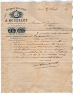 VP18.092 - 1895 - Lettre - Lampe / Eclairage Electrique A. BOSSELUT à PARIS Boulevard Voltaire - Electricidad & Gas