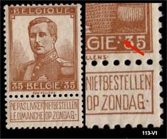 Nr 113-V1 (*) Dubbel Punt Na BELGIE - 1912 Pellens