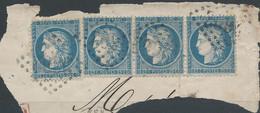 Lot N°60944  Bande De Trois + 1 N°60/fragment, Oblit GC 2602 Nantes, Loire-Inférieure (42) - 1871-1875 Ceres