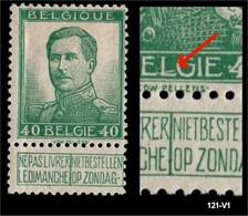 121 V1  (*) Gespleten L Van BELGIE - 1912 Pellens