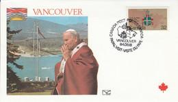 CANADA 1984 VISITE PAPE JEAN PAUL II à VANCOUVER - Cartas