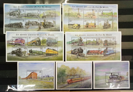 H174 2001 CONGO TRANSPORT TRAINS THE GREAT RAILWAYS OF THE WORLD !!! 4KB+3BL MNH - Treni