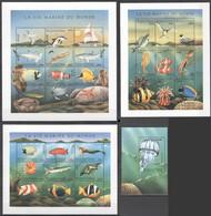 H184 1998 COMOROS COMORES FISH & MARINE LIFE LA VIE MARINE DU MONDE #1228-57 3SH+1BL MNH - Vita Acquatica