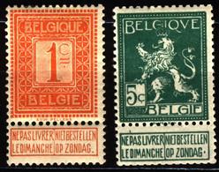 Belgium 1912 Mi 89, 91 MH - 1912 Pellens