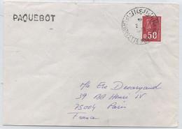 POSTE MARITIME - GRIFFE DE PAQUEBOT  -Lettre Pour PARIS N°1664  Oblitérée  LA GOULETTE PORT (Tunisie) + Griffe PAQUEBOT - Schiffspost