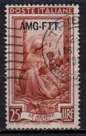 Repubblica Italiana, 1950/53 - AMG-FTT 25 Lire Italia Al Lavoro Fil. Ruota - Nr.98 Usato° - Used