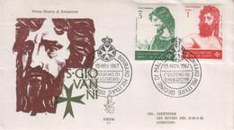 """SMOM - 1967 - FDC """"S. Giovanni Battista"""" S. Cpl 4v Su 2 Buste (rif.19/22 Cat. Unificato) - Malte (Ordre De)"""