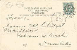 """FRANCE - 5 CENT """"BLANC"""" CANCELLED """"LIGNE N PAQ.FR.N°8"""" FRANKING PC (VIEW OF COLOMBO) TO FRANCE - 1905 - Maritime Post"""