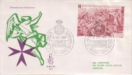 """SMOM - 1968 - FDC """"Natale"""" Solo 1v Da 1\2 Scudo (rif. 35 Cat. Unificato) - Malte (Ordre De)"""