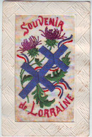 FANTAISIES . CARTE BRODEE . SOUVENIR De LORRAINE . POURTOUR GAUFRE . - Embroidered