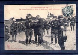 """Grandes Manoeuvres De L'est 1905. Les Généraux Dalstein, Fabre, Michel Et Pamard. Carte """"molle"""" Recollée - Manoeuvres"""