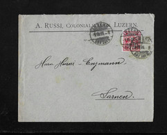 HEIMAT LUZERN →  1905 Briefumschlag A.Russi, Colonialwaren Luzern An Enzmann SARNEN - Covers & Documents