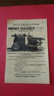Vieux Papiers Henri Hauser Madretsch Pres Bienne Suisse 1914 - Advertising