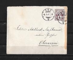 HEIMAT ZUG →  1897 Briefumschlag ZUG Nach OBERAEGERI - Covers & Documents
