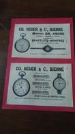 Vieux Papiers Ed Heuer Et Co Bienne Chronographes Montres 1914 - Advertising