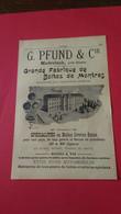 Vieux Papiers Fabrique De Oites De Montres Pfund Et Cie Bienne Suisse 1914 - Advertising