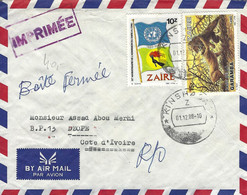 Zaire Congo 1988 Kinshasa Lions Garamba Park Buzin Flag Returned Cover - Roofkatten