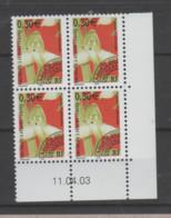 FRANCE / 2003 / Y&T PREO N° 247 ** : Orchidées - 2ème Série (Savoie) X 4 - Coin Daté 2003 04 11 - Prematasellados