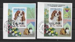 Korea (Nord) 2002/3 Hunde 2 Blöcke Gestempelt Auf Papier - Corea Del Nord