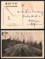 Carte Postale - Ruanda : Construction D'une Hutte / Voyagée Par Avion, Timbre Décollé - Ruanda-Urundi