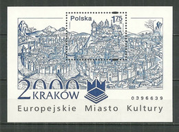 POLAND MNH ** Bloc 149 CRACOVIE Ville Européenne De La Culture - Blocks & Sheetlets & Panes