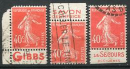21562 FRANCE N°194°(132, 135) 40c. Vermillon Semeuse : Gibbs, Savon Dentifrice, Le Secours Accidents  1924-26 B/TB - Advertising